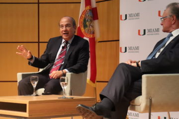 President Calderon and the Dean of the Miami Business School answer audience questions after the president's talk.